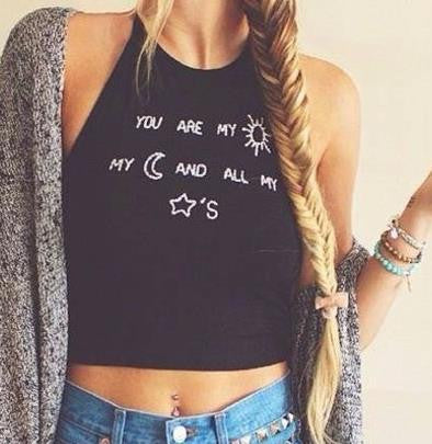 Crop Top Sun Moon Stars Letter Printed Tank Top