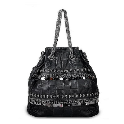 Leather Sequined Skull Bag
