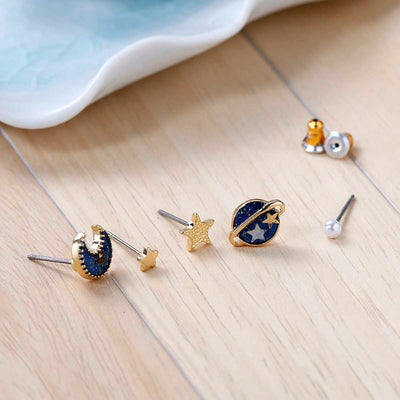 5pcs Deep Blue Planet Moon Stars Earring Set