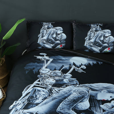 Red Rose Beauty Kisses Skull Bedding Set