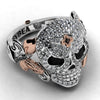 Rose Crystal Skull Ring