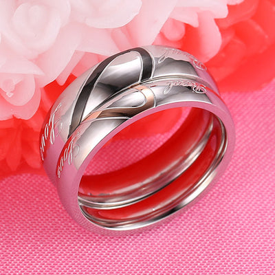 Heart Silver Couple Ring