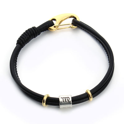 Zodiac Signs Charm Black Leather Bracelet