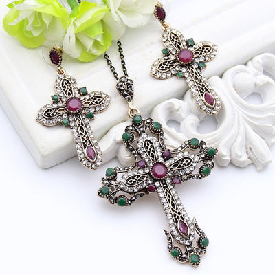 Flower Cross Necklace