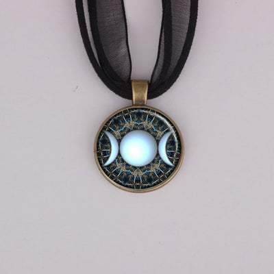 Triple Moon Goddess Spiritual Necklace