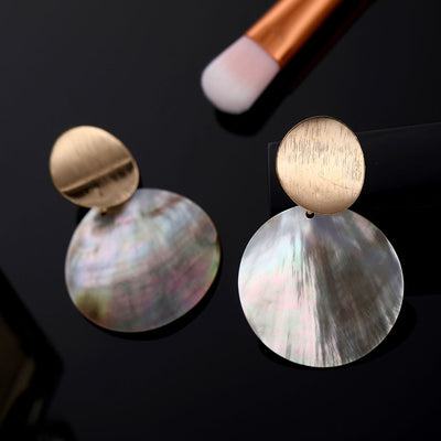 Round Shell Drop Dangle Earrings