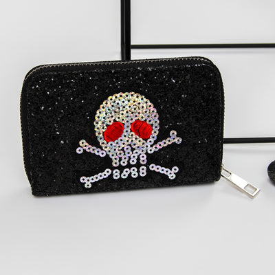 Black Bling Sequins Skull Wallet