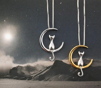 Silver Gold Moon Cat Charm Necklace