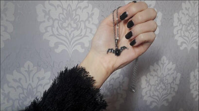 Gothic Black Stone Bat Necklace