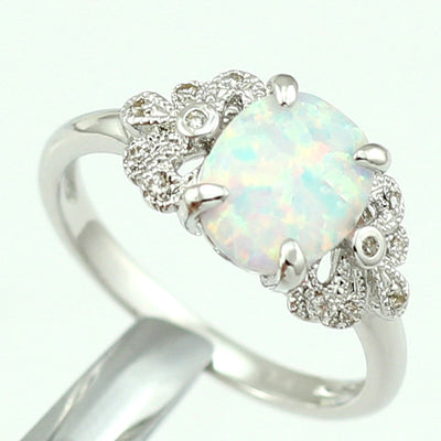 Elegant Oval White Opal Stone Ring