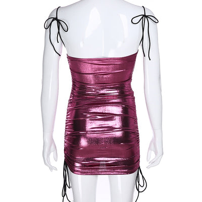 Laser Pink Bodycon Backless Dress