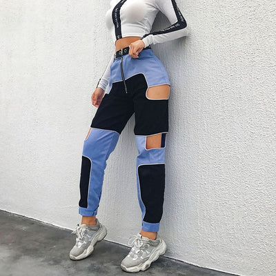 Patchwork Hollow Out Zip Up Pants
