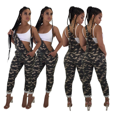 Camouflage Shoulder Strap Jumpsuit