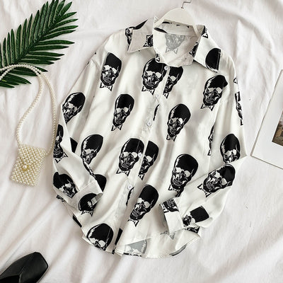 Skull Print Women Blouse