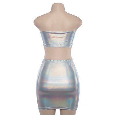 Silver Holographic Party Dress