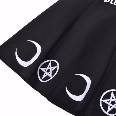 Pretty Witch Moon Print Waist Skirt