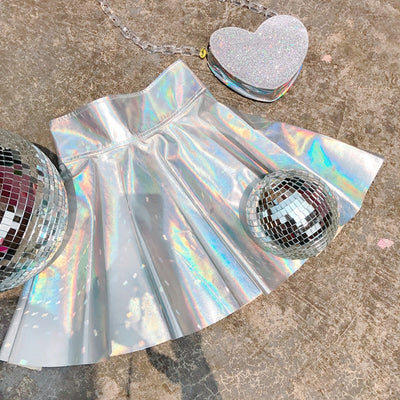 Harajuku Holographic Pleated Skirt