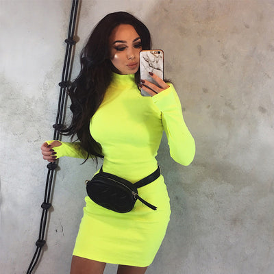 Turtleneck Neon Color Dress