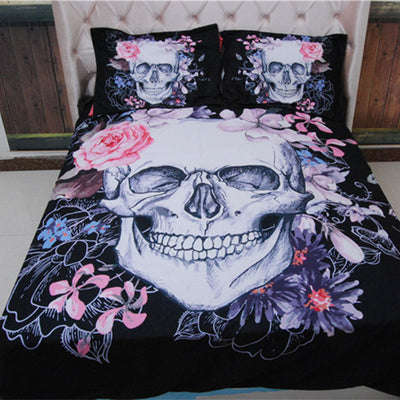 3D Gothic Flower Skull Bedding