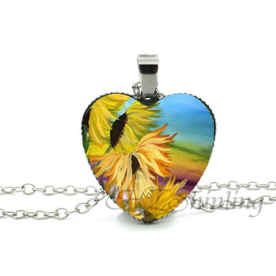 Sunflower Heart Necklace