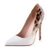 Mixed White Leopard High Heels