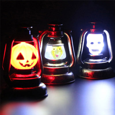 Halloween Pumpkin Skull Witch Lamp