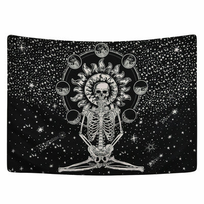 Skeleton Meditate Tapestry