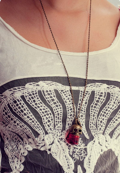 Skull Blood Bottle Necklace