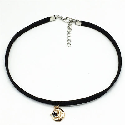 Black Velvet Ribbon Moon And Stars Necklace