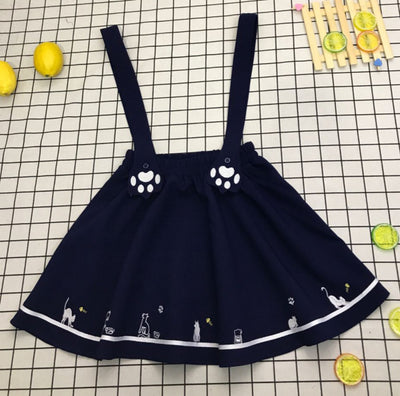Embroidery Cat Paw Suspenders Skirt