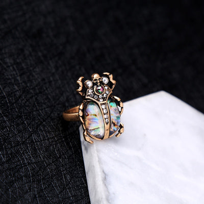 Skull Beetle Shaped Gemstone Ring