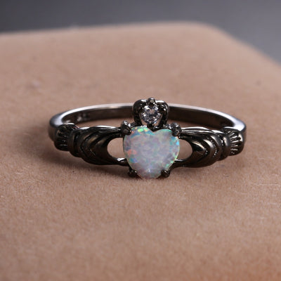 Heart Shape Opal Black Ring