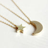 2 pcs Moon Star Pendent Necklace Set