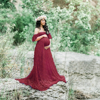 Long Off -Shoulder Maternity Dress