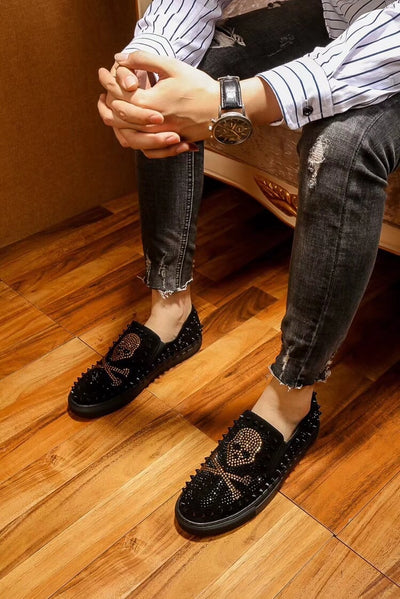 Skull Black Rhinestones Spikes Loafers