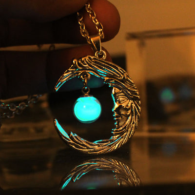 Glass ball Luminous Moon Angel Pendants & Necklaces