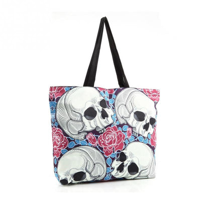 Rose Skull Head Tote Bag