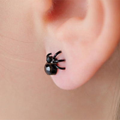 Free - Black Tiny Spider Earrings