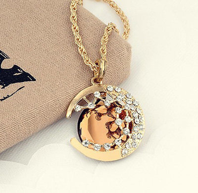 Crescent Moon Rhinestone Necklaces