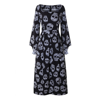 Sugar Skull Flare Sleeve Dress