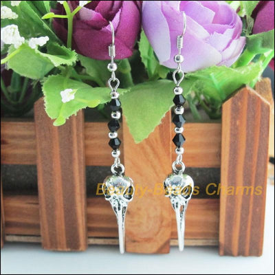 Raven Skull Dangle Earrings