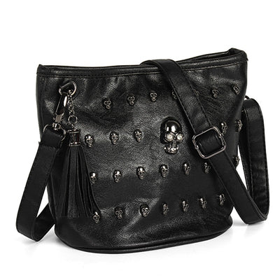 Black Rivet Studs Skull Bag