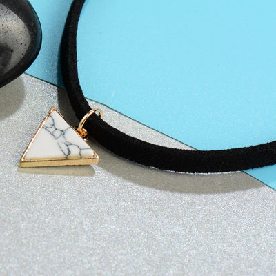 Punk Triangle Faux Stone Choker Necklace