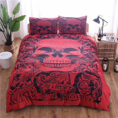 Red Skull Duvet Cover Set