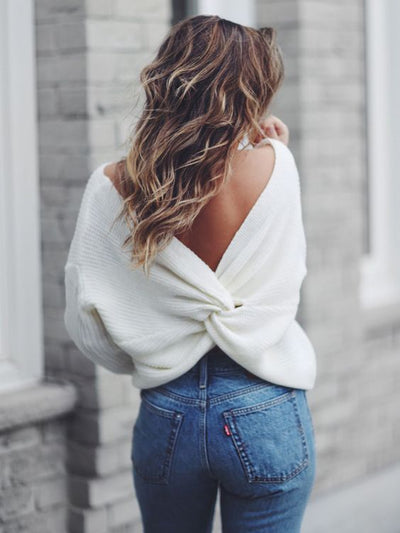 Twisted Back/Front Casual Knitted Sweater