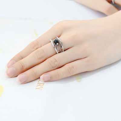 Spider Natural Black Stone Ring