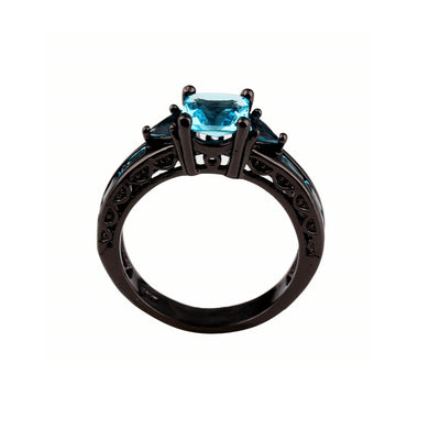 Free - Light Blue Stone Black Ring