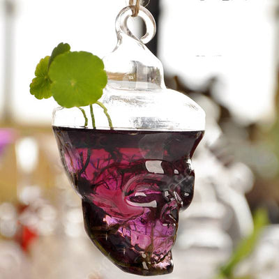 Skull Glass Hanging Vase