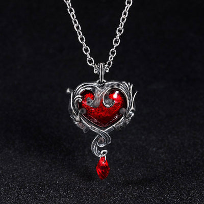 Red Black Heart Crystal Necklace