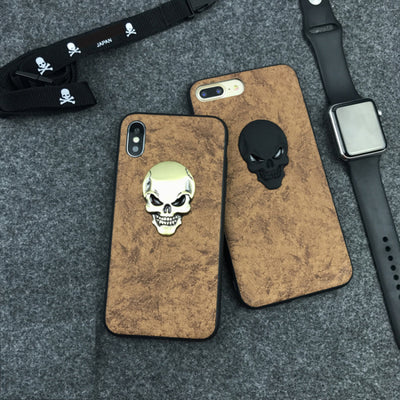 3D Skull Leather Phone Case